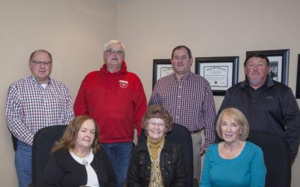 Board Members: (front row) Joann Koenig, Connie Schneider, Sara Kreitzer, (backrow) Fritz Serr, Dave Mielke, Chris Brown, Pat Elsass